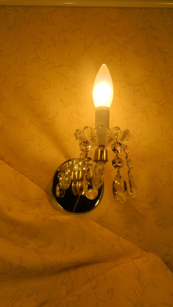 RESERVED  for DOROTHY  Vintage French  Crystal and Mirror  Sconce