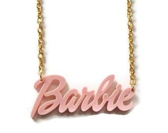 Barbie Necklace, Pale Pink Laser Cut Pendant Gold Chain
