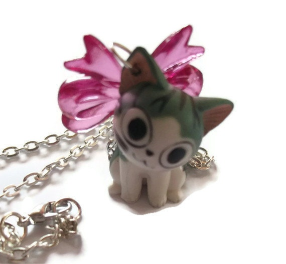 Kawaii Kitty Necklace, Cute Happy Cat