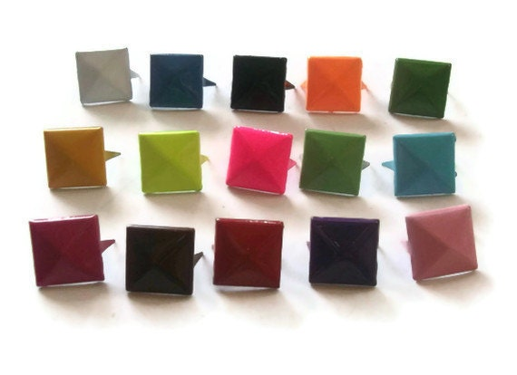 50 Mixed Colour Pyramid Studs, 12mm Squares for Clothing, Diy