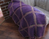 Knitted and crochet knee rug throw in Mohair Linate Classic yarn 70 percent pure Mohair 30 percent Pac