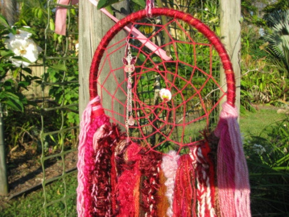 Dreamcatcher Wall Hanging - Cherry Ripe colors butterfly and bead in web with yarn hanging down, beads and crystal drop