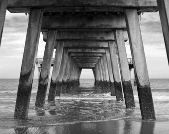 Pier Tybee Island - Beach photo print - Black and white photography - Coastal wall art - 8x10 - Girlfriend photo gift - Ocean art- Large art