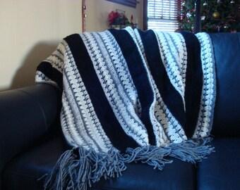 Striped Black, Grey, Heather, Multi Afghan