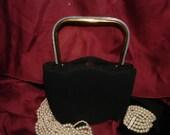 Vintage Black Wool Evening Bag w/ Mother of Pearl Handle