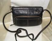 Tignanello Black Pebbled Leather Crossbody Bag