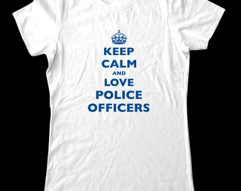 Keep Calm and Love Police Officers T-Shirt - Soft Cotton T Shirts for Women, Men/Unisex, Kids