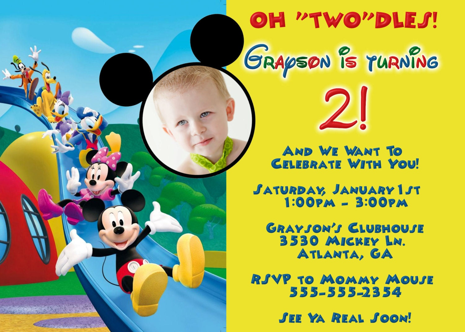 mickey mouse clubhouse digital invitation by preciouspixel on etsy