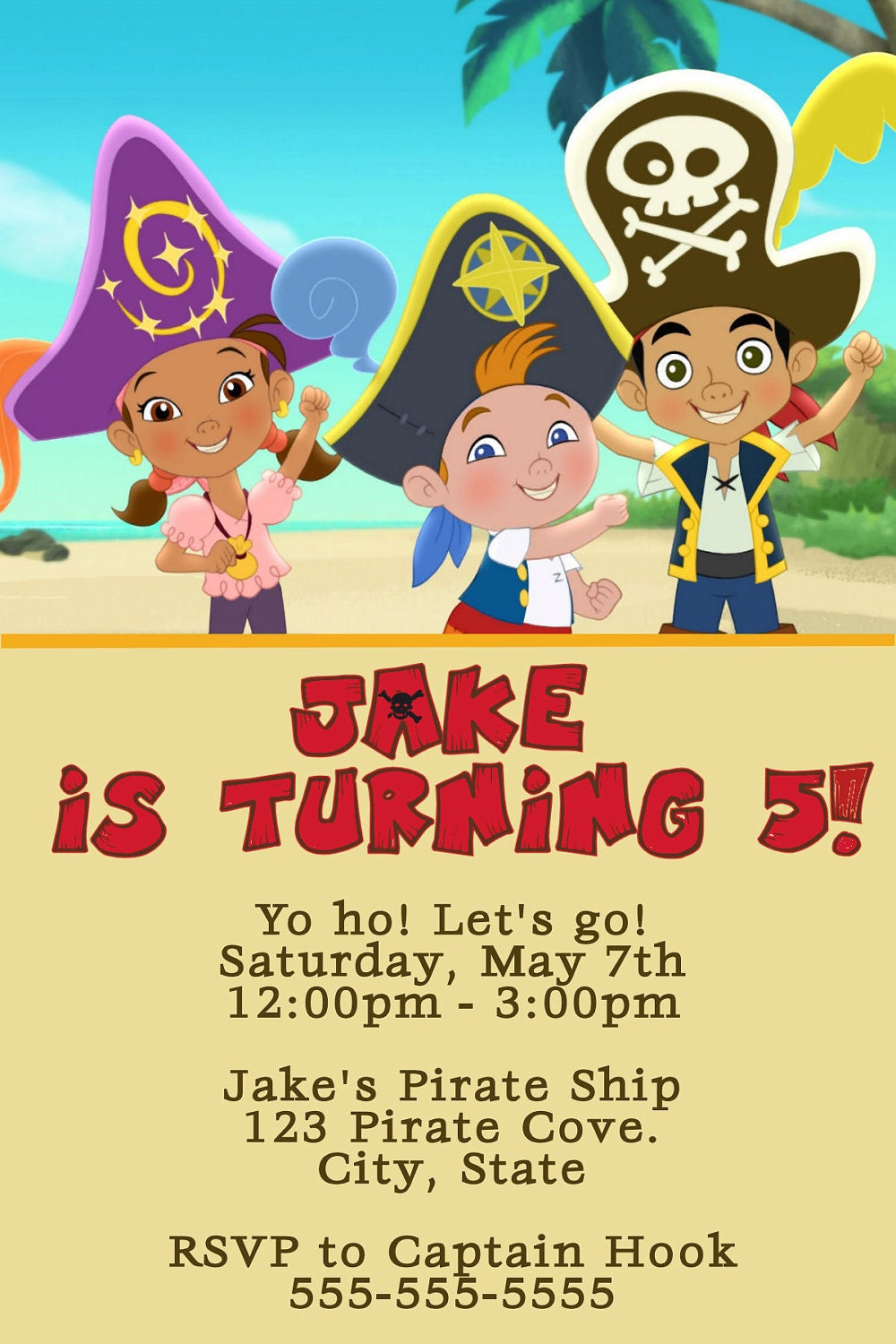 Jake and the Neverland Pirates Digital Invitation by ...