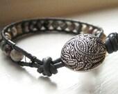 Silver Leaf Jasper Leather Wrap Bracelet