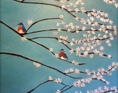 Original Textured 24x24 Palette Knife Bluebirds Cherry Blossoms Painting