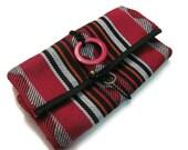 Jewelry Roll - Red White Handmade