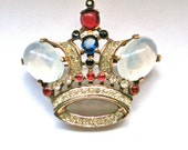 Trifari Crown Pin Red Blue Signed Patent Date Collectible Brooch Jewelry Jewellery Royal