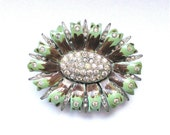 Dress Clip Enamel Jewelry Painted with Clear Rhinestones Jewellery Green