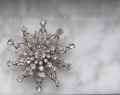 Bridal Vintage Clear Rhinestone Brooch Jewelry With Pin Back Wedding