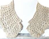 Crochet Collar Ecru Cream Natural Wedding Bridal Fashion Accessory Shabby