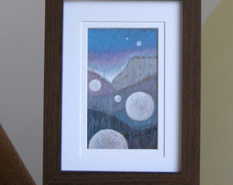 Moon Art Painting Abstract Framed Original Moon Painting Contemporary Home Decor One of a Kind