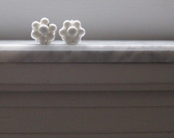 White Beaded Earrings Clip on German Made Jewelry Wedding Bridal vintage Cluster Fashion