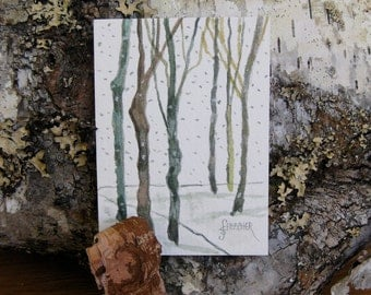 Watercolor ACEO Tree Painting Art Handmade Original Watercolor Winter Miniature Fine Art