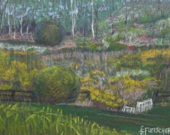 Landscape Painting Handmade Art Original Pastel Painting Handpainted One of a Kind