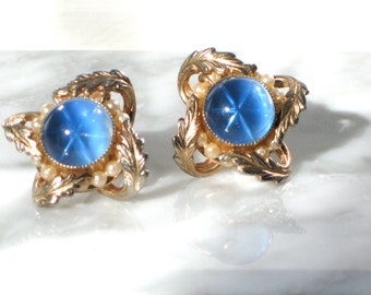 Blue Sapphire Earrings Star Clip on Pearls Gold Faux Patent Engraved Womans Gift Jewelry For Her