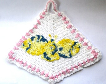 Vintage Crochet Pot Holder with Butterfly White Pink Yellow Blue Variegated Thread under 20 Kitchen Decor