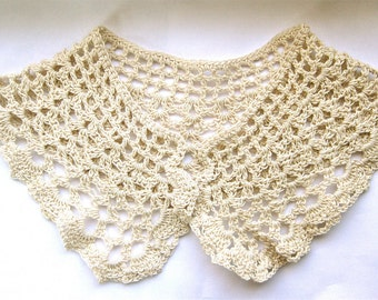 Oatmeal Crochet Collar Ecru Cream Natural Wedding Bridal Fashion Accessory Shabby