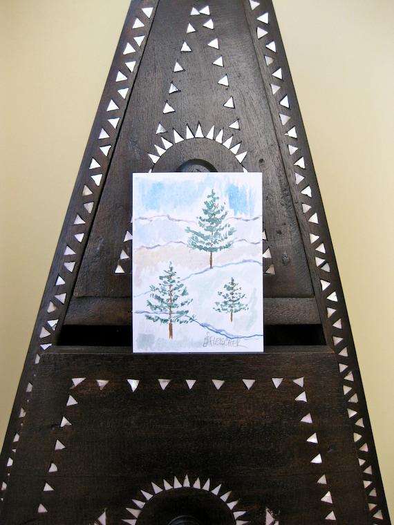 Tree Painting Aceo Watercolor Handmade Original on Fine Paper Winter Scene Pine