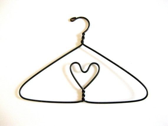 Vintage Hanger with Heart Clothes Jewelry Doll Shabby Chic