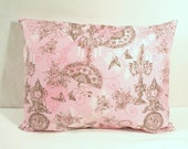 "12"" x 16"" Pink, Cocoa Brown and White Vintage Print with Fans, Clocks, Roses, Pearls, Butterflies and Candlesticks - Decorative Pillow Cover"