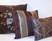 """12"""" x 16"""" Dark Brown and Blue Woven Print Decorative Pillow Cover - pictured on the right"""