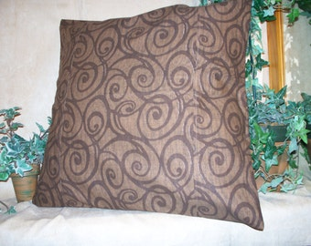 """SALE 20"""" x 20"""" Decorator Pillow Cover in Coco Brown with Brown swirls"""