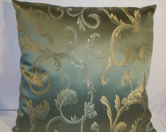 """18"""" x 18"""" Elegant Green with Gold Design Decorative Pillow Cover"""