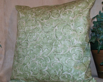 "14"" x 14"" Light Green Swirl Decorative Pillow Cover"