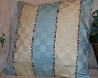 """14"""" x 14"""" Tan and Sage Green Decorative Pillow Cover"""