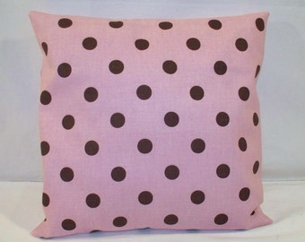 "SALE 12"" x 12"" Pink with Dark Brown Polka Dot Print Decorative Pillow Cover"