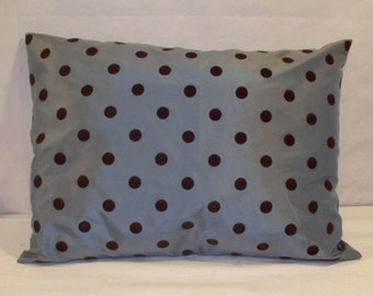 "12"" x 16"" Blue with Dark Brown Fuzzy Dots Decorative Pillow Cover"
