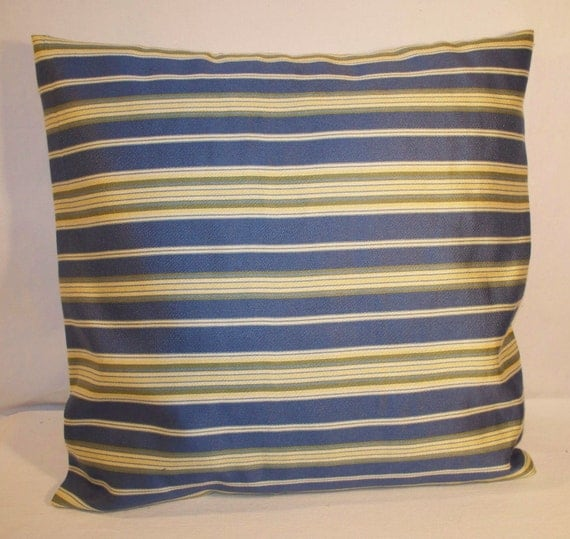 "16"" x 16"" Blue and Yellow Stripe Decorative Pillow Cover"