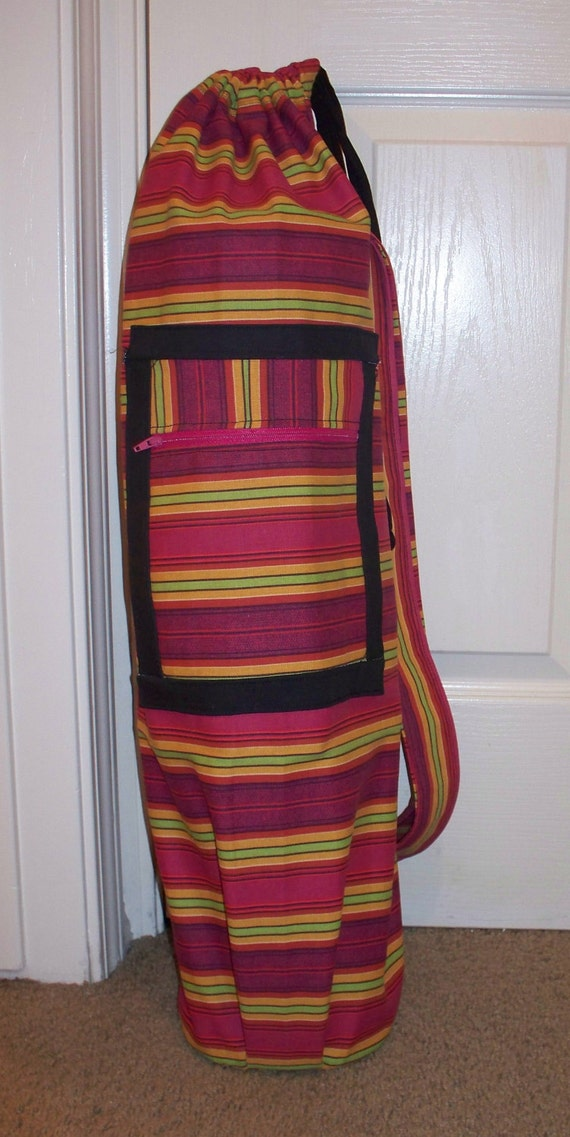 Yoga Bag - Pink, Yellow and Green Strips Extra Large Yoga or Pilates Mat Bag with 2 straps and zipper pocket