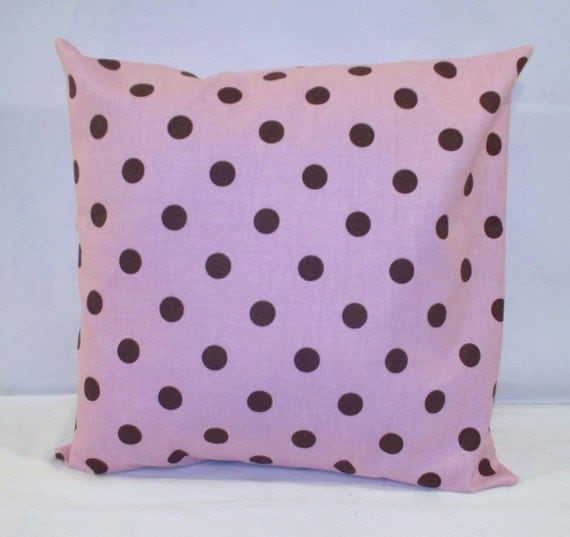 """14"""" x 14"""" Pink with Dark Brown Polka Dot Print Decorative Pillow Cover"""