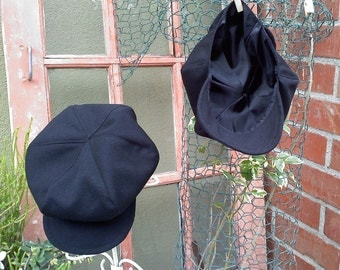 Cotton Newsboy hat,  Cotton Black with colored satin liner, boy hat, beret for boys