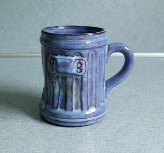Vintage Red Clay Painted Blue Garbage Trash Can Coffee Tea Cup Mug Humor Kitsch