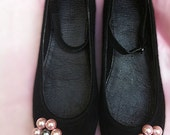 Sale -25% Flat black Ballerinas shoes with pink flower pearl beads
