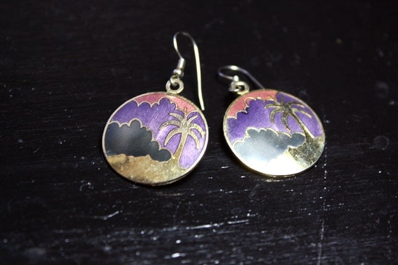 Palm Tree Earrings Vintage Cloisonne Gold Purple Pink Black
