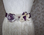 Violet and Ivory Wedding Gown Sash - Bridal accessory, Bride/Bridesmaid- Silk, Satin, Freshwater Pearl, Glass Beads - Springtime- Floral