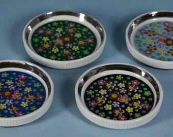 Vintage Chintz Ceramic Coasters Apco, Japan
