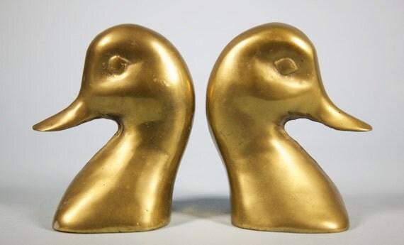 Brass Duck Bookends