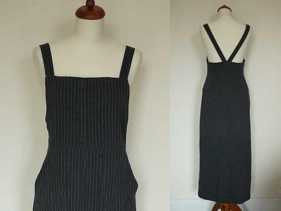 Vintage 90s Pinnafore Dress // Maxi Dress // Dungaree Dress