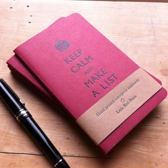Keep Calm And Make A List  - Letterpress Moleskine Pocket Cahier (red)