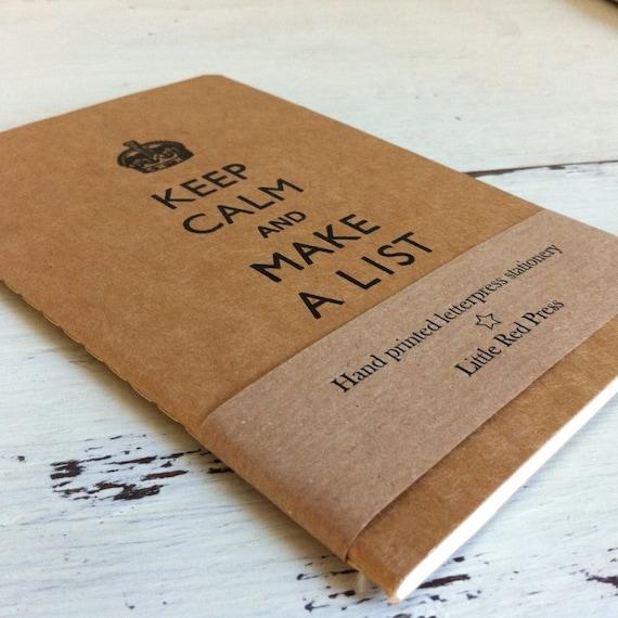 Keep Calm And Make A List  - Letterpress Moleskine Pocket Cahier (buff)